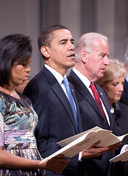 The Obamas and the Bidens at the Inaugural Prayer Service (Donvan Marks)