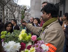Striking members of the BBC's South Asia service on February 26, 2009 (Photo: BECTU)